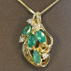 14K Gold Genuine Emerald & Diamond Pendant W/Chain